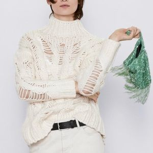 🔥Sale🔥New Zara Openwork Cable Knit Sweater